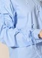 Agenda İnci İşlemeli Kolları Büzgülü Bluz Mavi